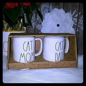 Rae Dunn cat mom and cat dad mug set